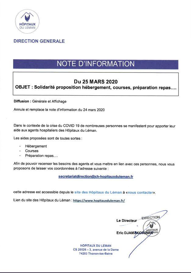 COVID-19 : Solidarité envers les agents des Hôpitaux Du Léman